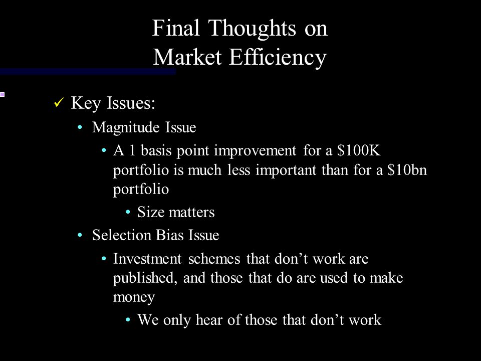 Final Thoughts on Market Efficiency