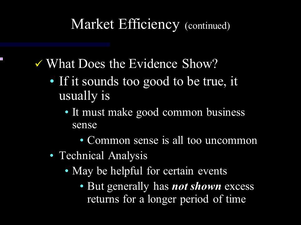 Market Efficiency (continued)