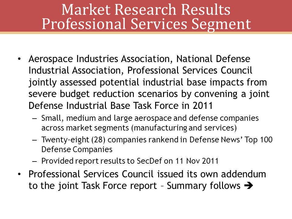 Market Research Results Professional Services Segment
