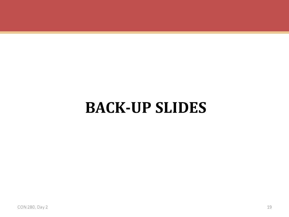 BACK-UP SLIDES CON 280, Day 2