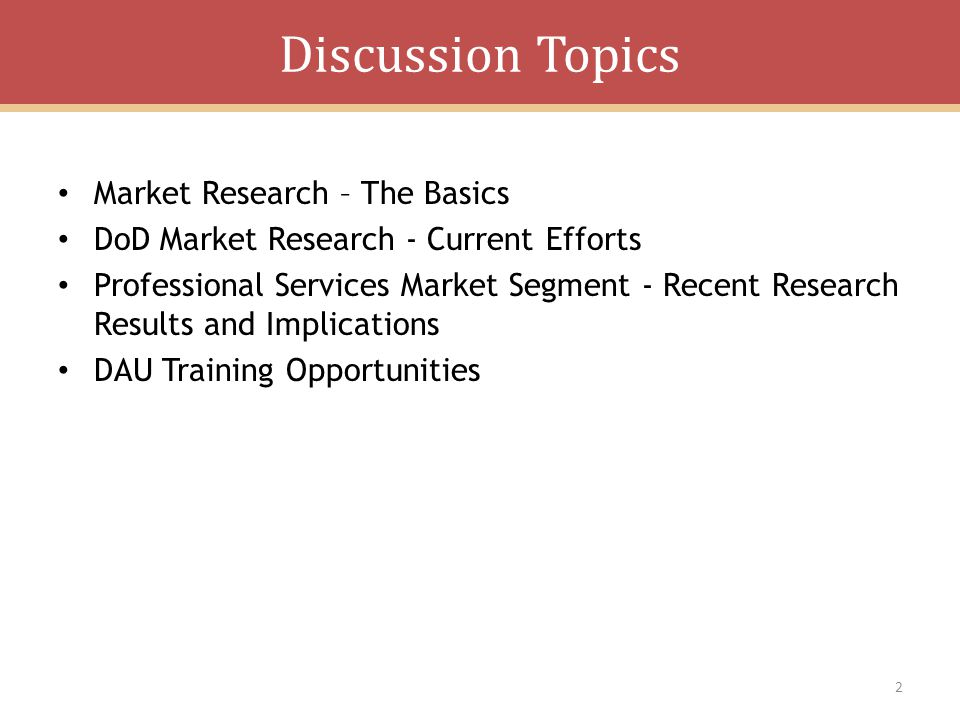 Discussion Topics Market Research – The Basics