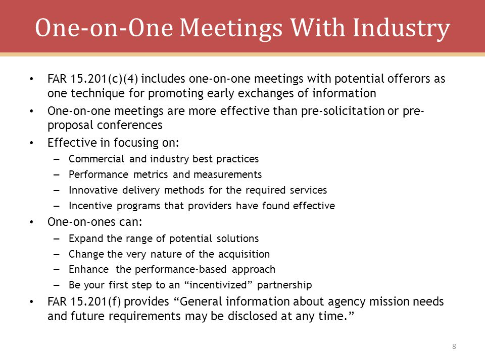 One-on-One Meetings With Industry