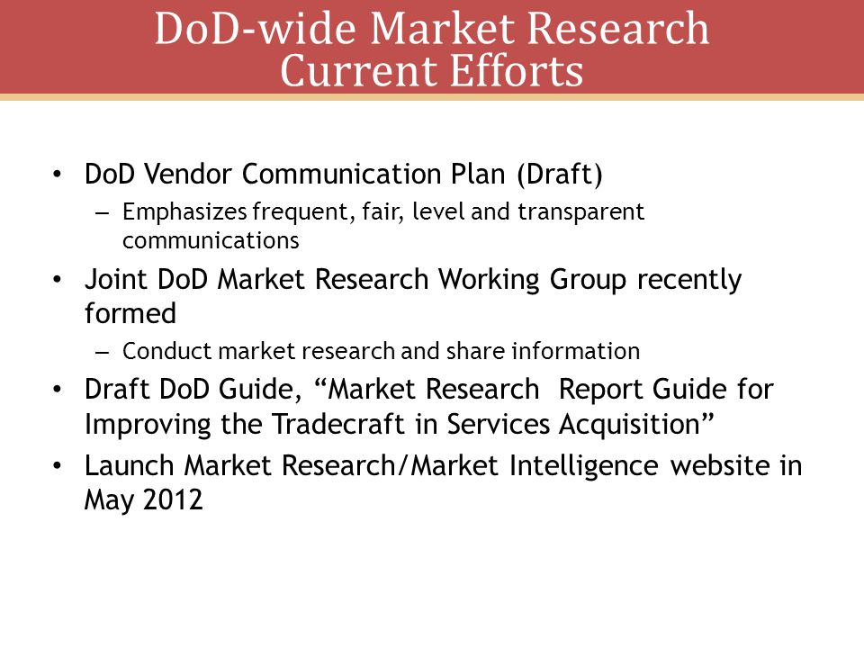 DoD-wide Market Research Current Efforts