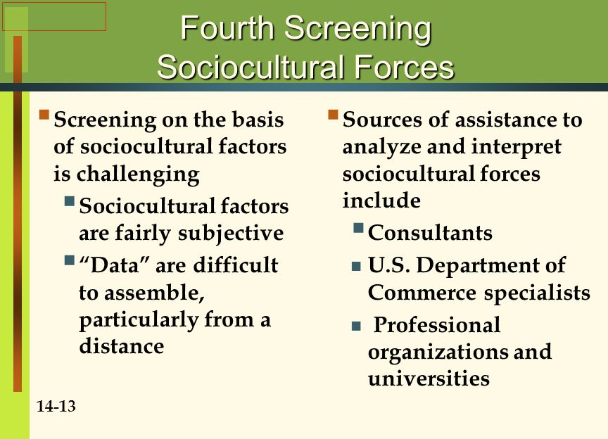 Fourth Screening Sociocultural Forces