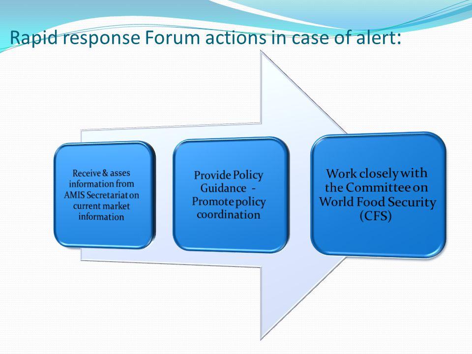 Rapid response Forum actions in case of alert:
