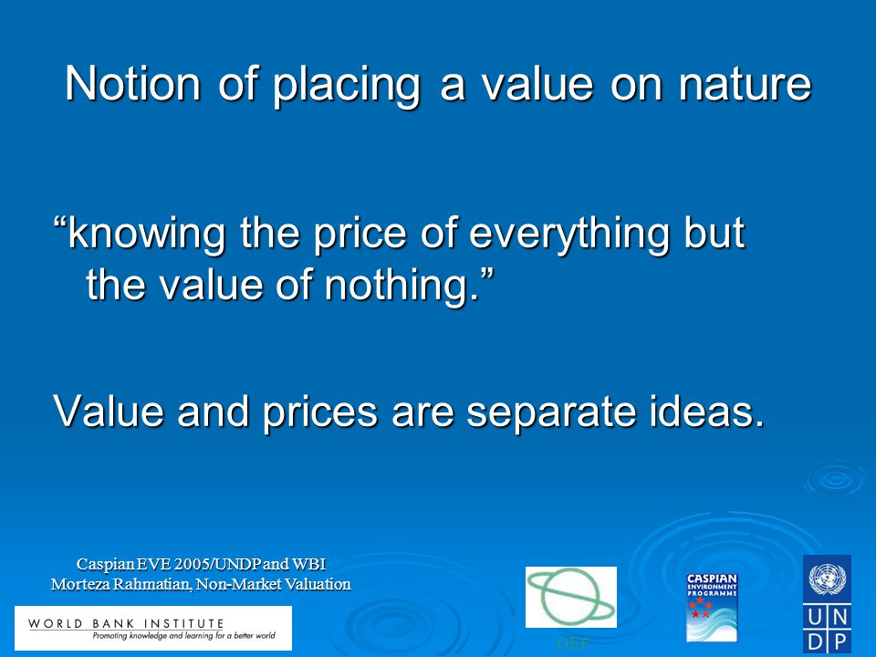 Notion of placing a value on nature