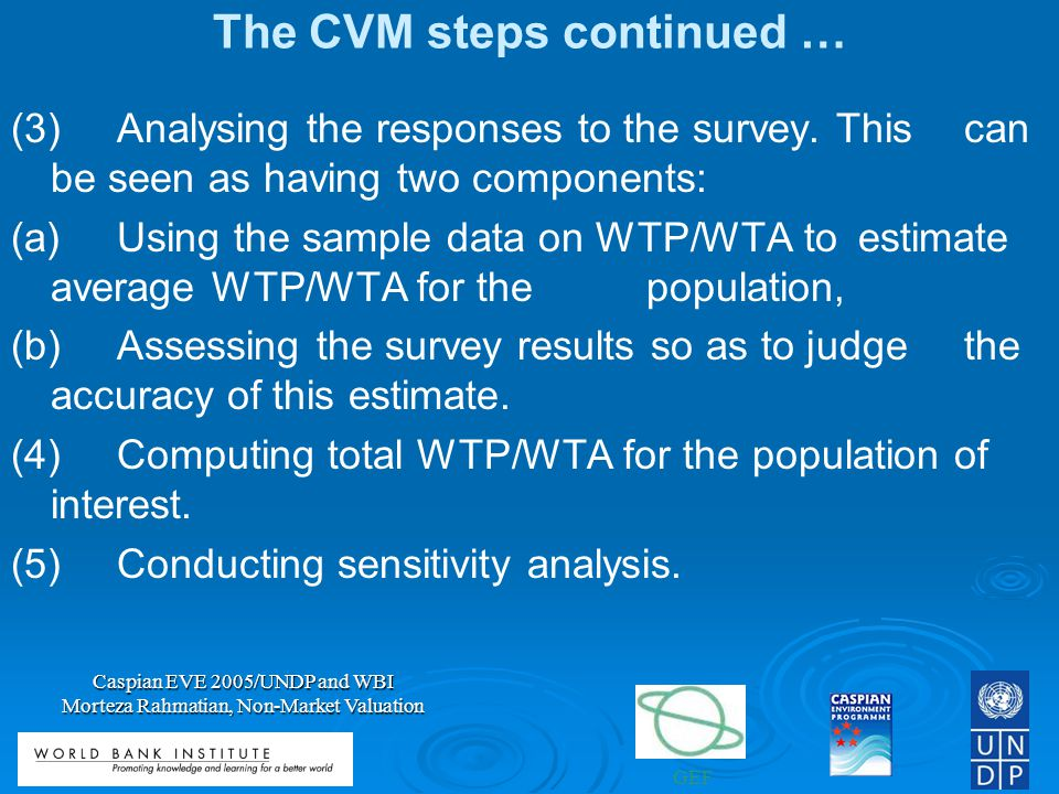 The CVM steps continued …