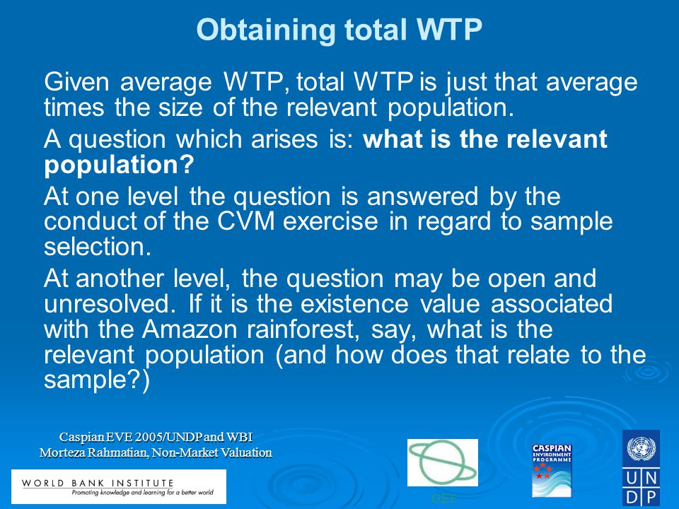 Caspian EVE 2005/UNDP and WBI Morteza Rahmatian, Non-Market Valuation