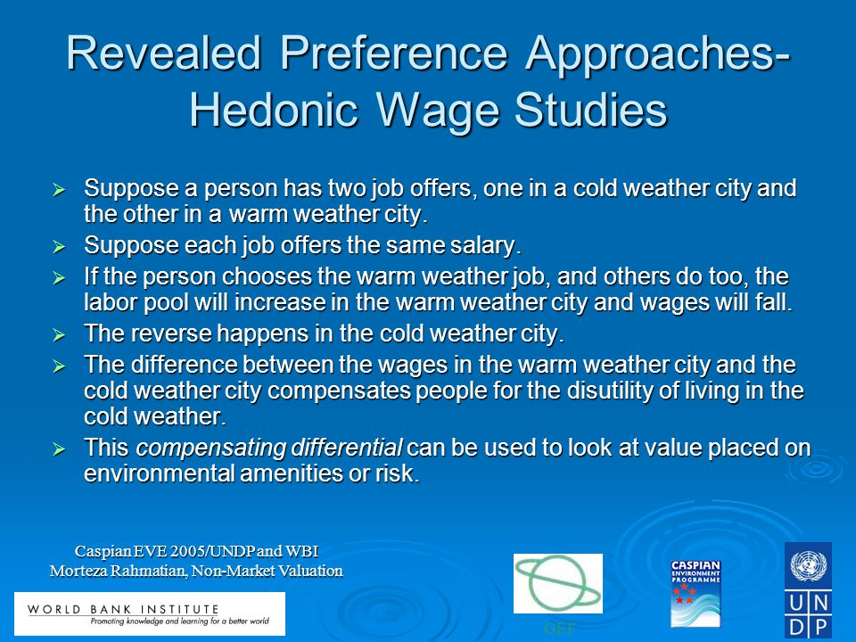 Revealed Preference Approaches- Hedonic Wage Studies