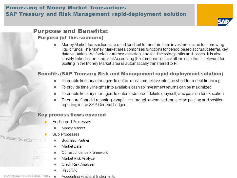 Processing of Money Market Transactions SAP Treasury and Risk Management rapid-deployment solution