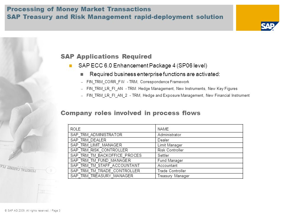 SAP Applications Required