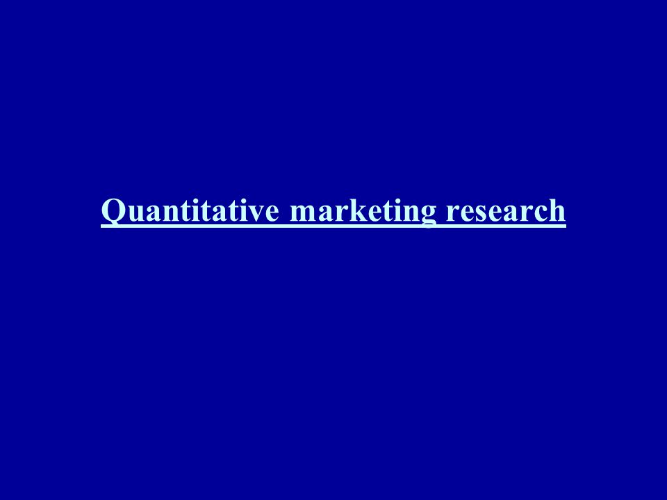 Quantitative marketing research