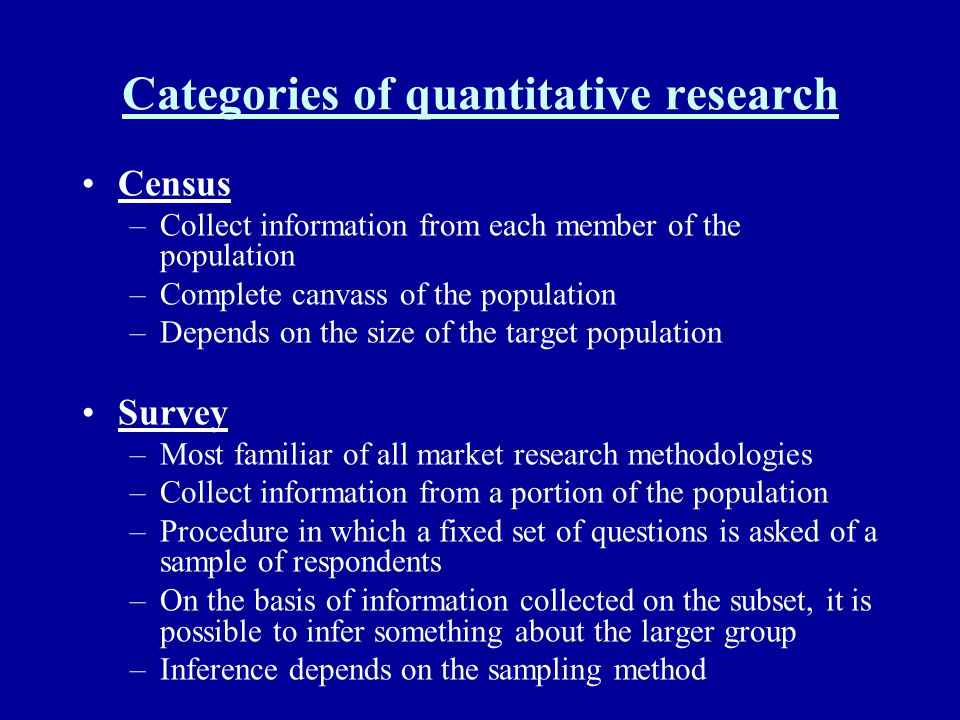 Categories of quantitative research