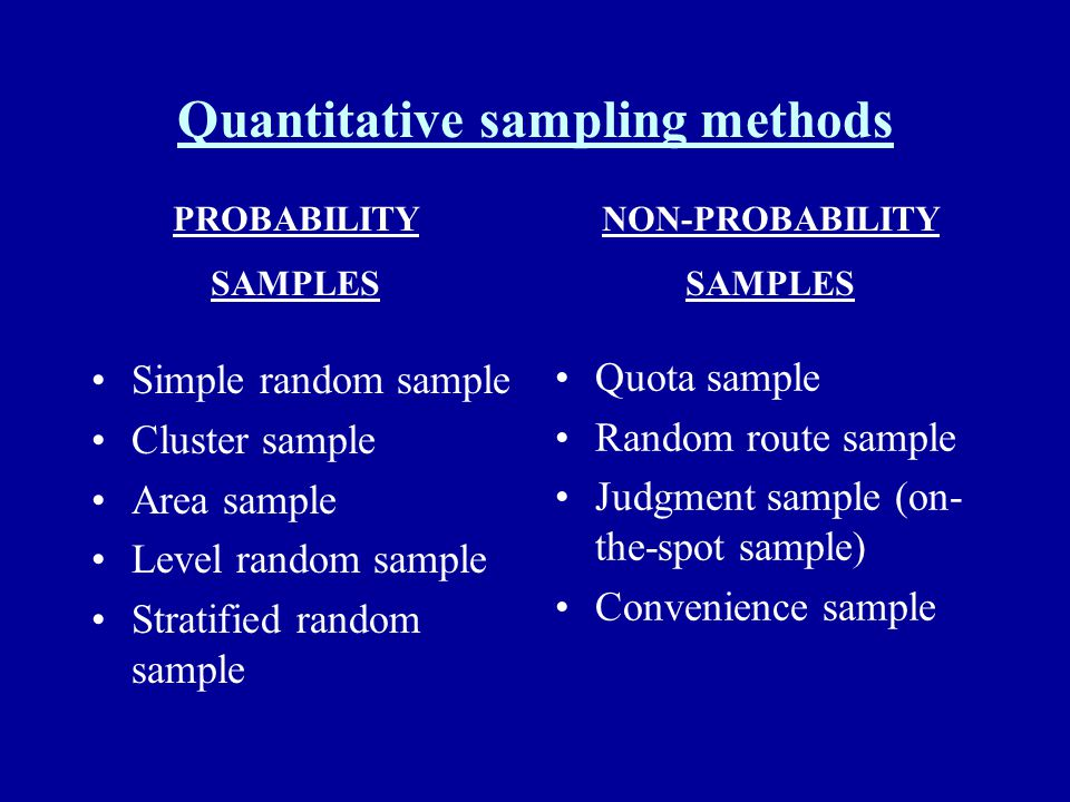 Quantitative sampling methods