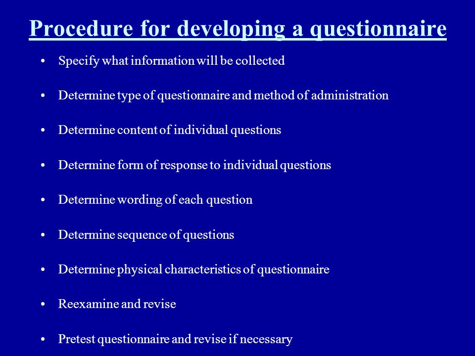 Procedure for developing a questionnaire