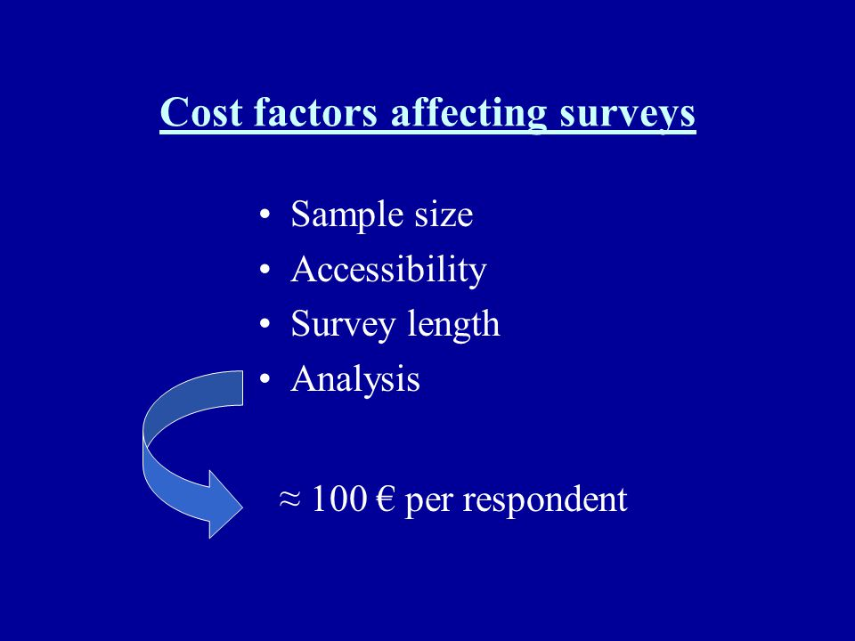 Cost factors affecting surveys