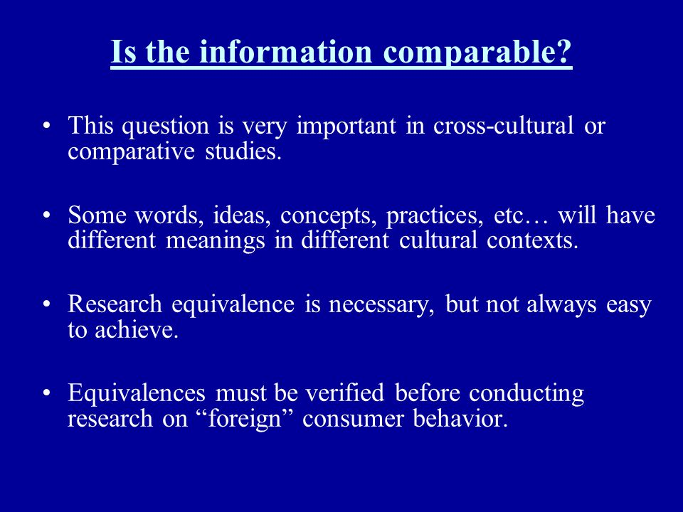 Is the information comparable