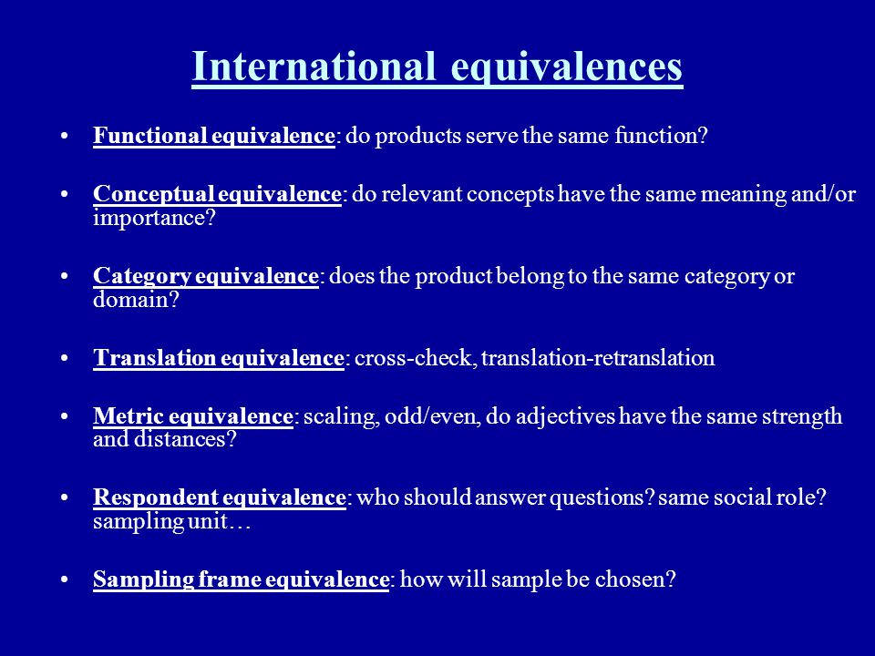 International equivalences