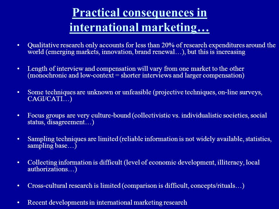 Practical consequences in international marketing…