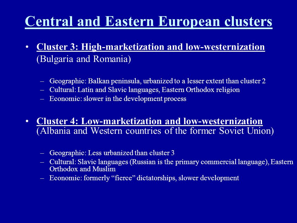 Central and Eastern European clusters