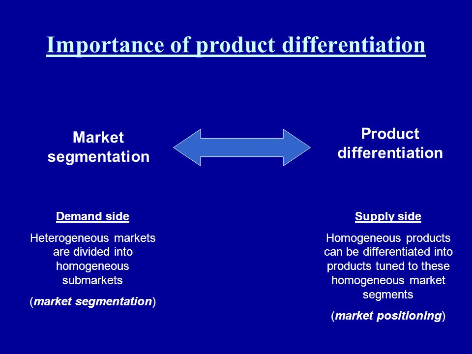 Importance of product differentiation