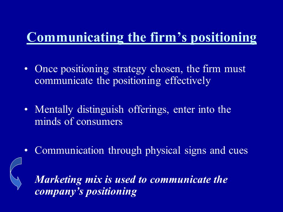 Communicating the firm's positioning