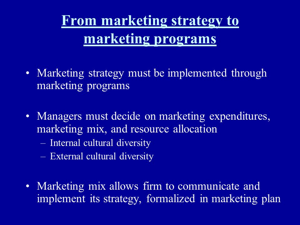 From marketing strategy to marketing programs