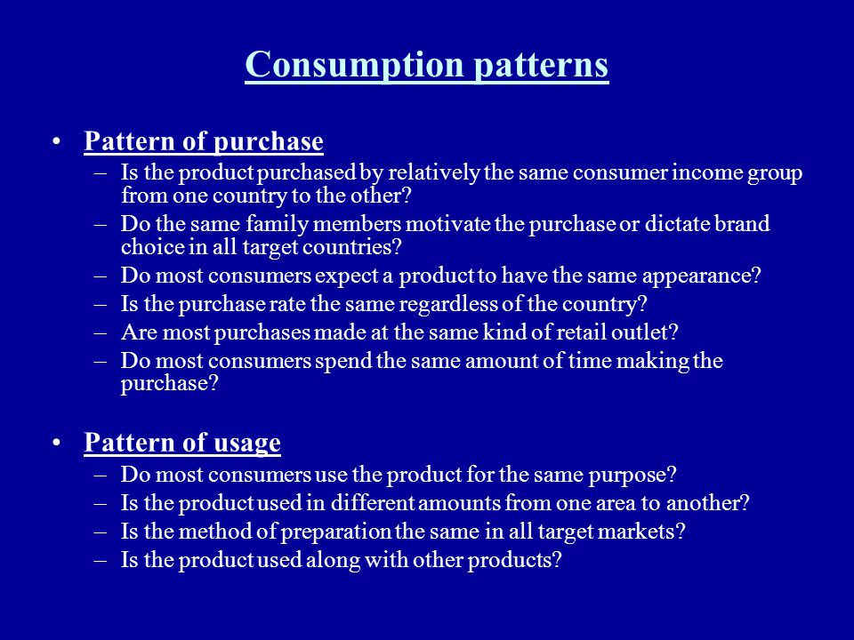 Consumption patterns Pattern of purchase Pattern of usage