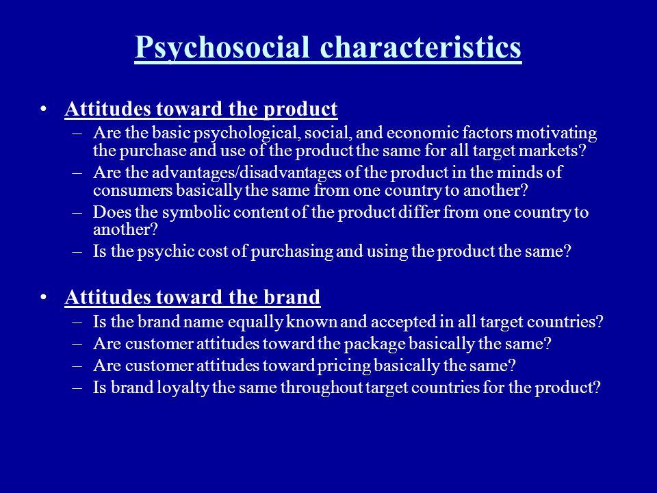 Psychosocial characteristics