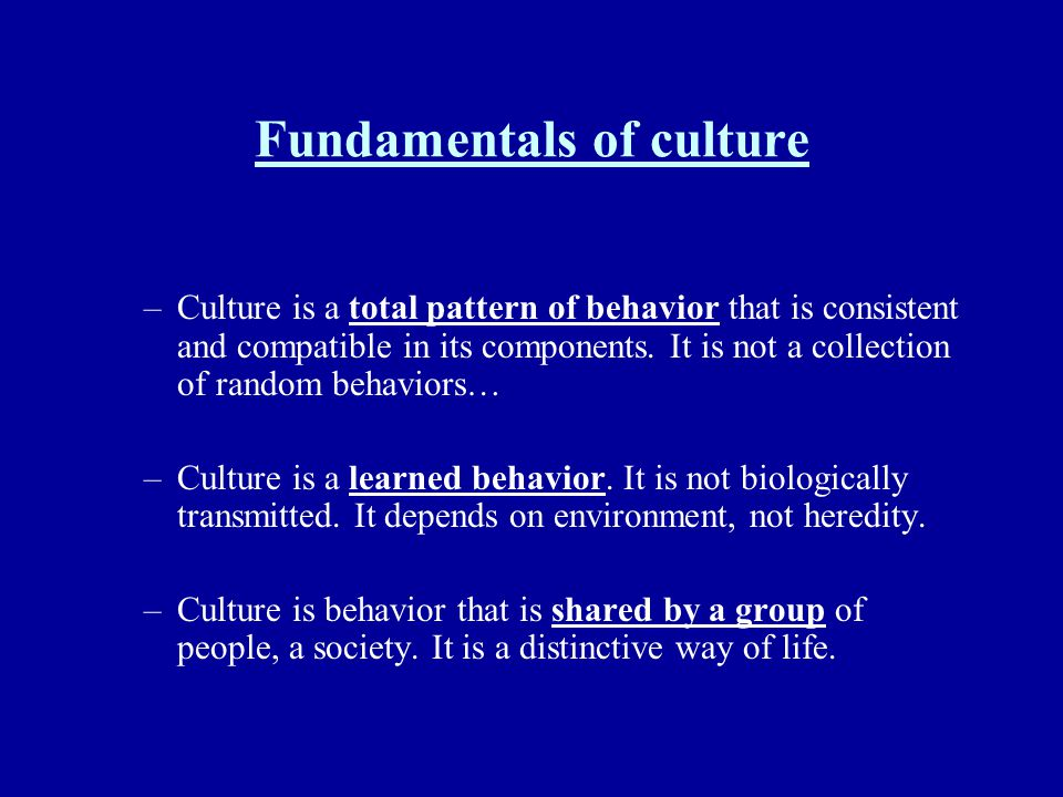 Fundamentals of culture