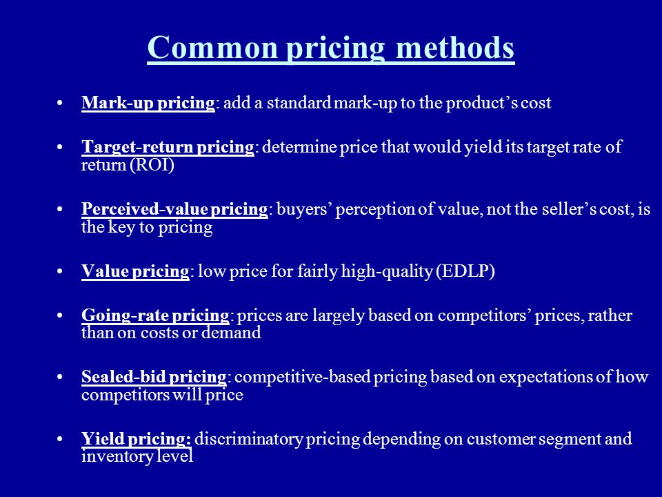 Common pricing methods