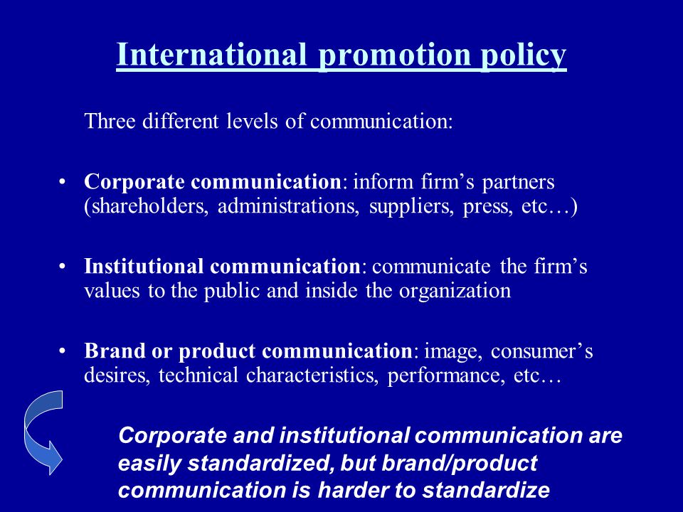 International promotion policy