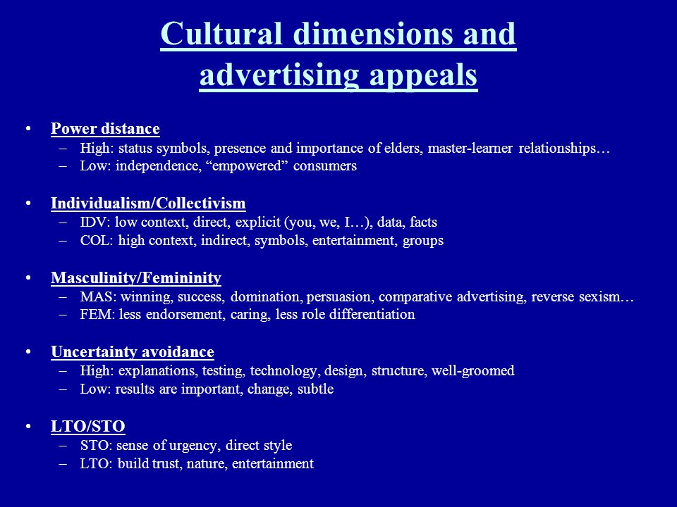 Cultural dimensions and advertising appeals