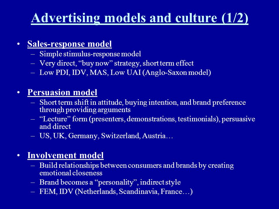 Advertising models and culture (1/2)