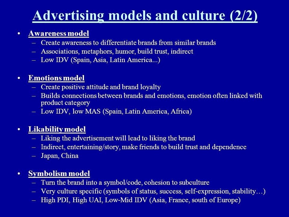 Advertising models and culture (2/2)