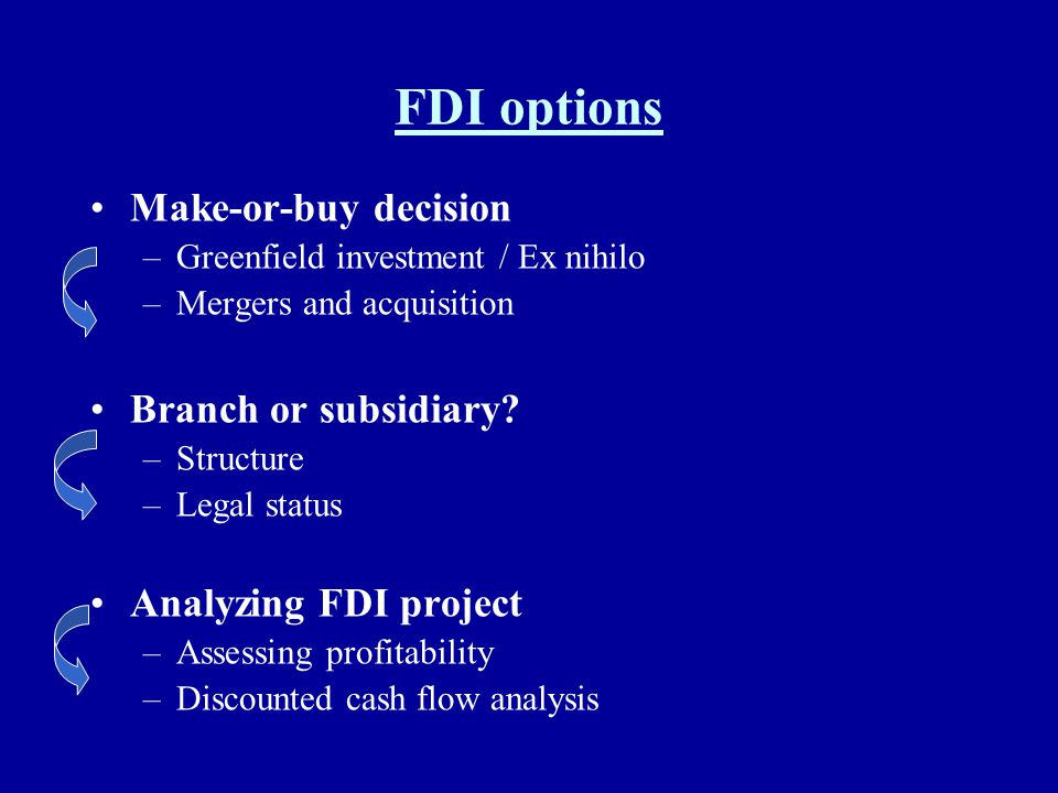 FDI options Make-or-buy decision Branch or subsidiary