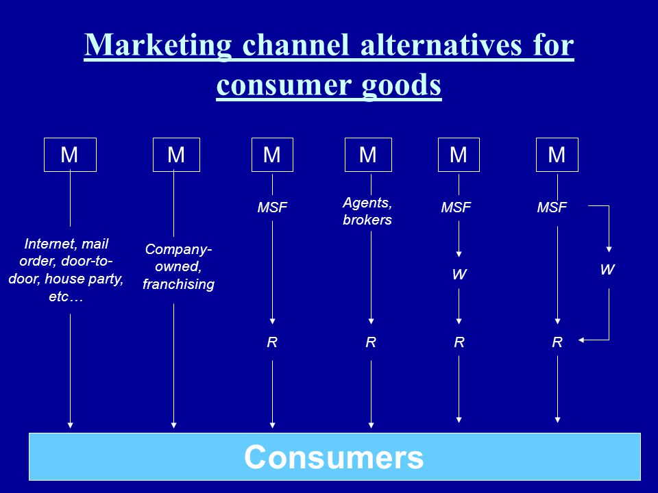 Marketing channel alternatives for consumer goods