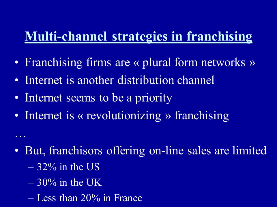 Multi-channel strategies in franchising