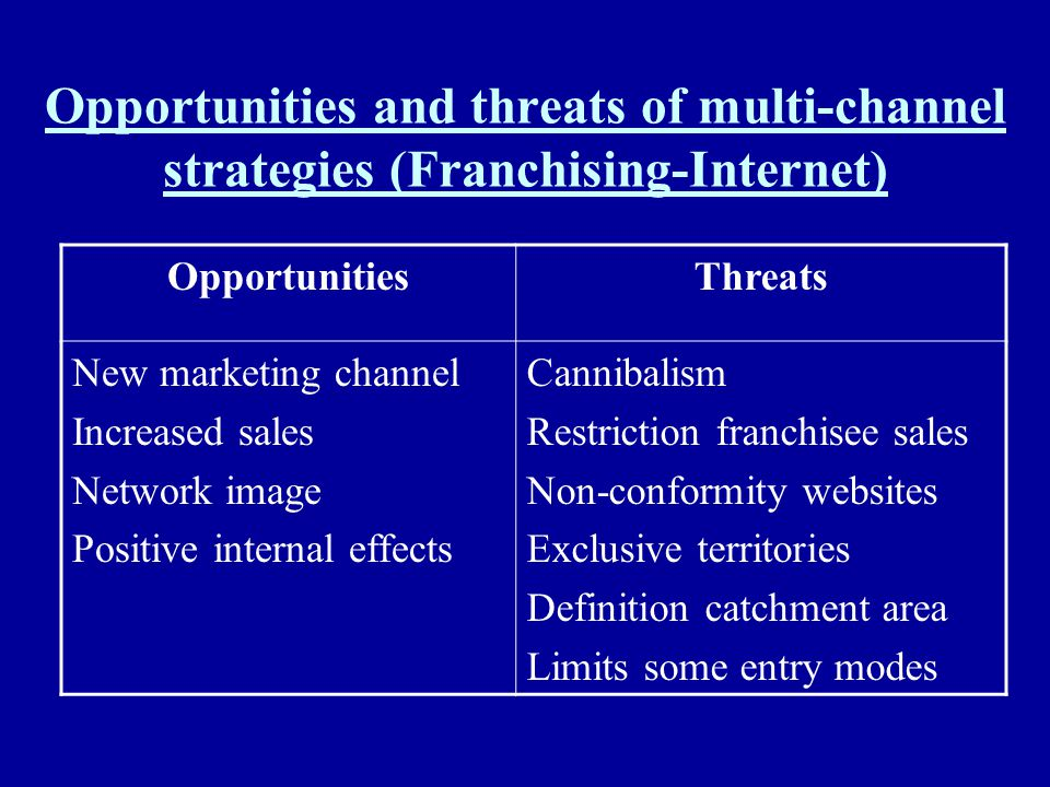 Opportunities and threats of multi-channel strategies (Franchising-Internet)