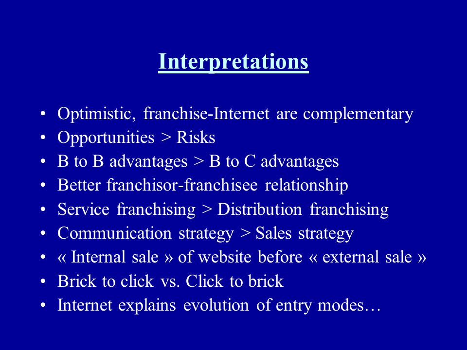 Interpretations Optimistic, franchise-Internet are complementary