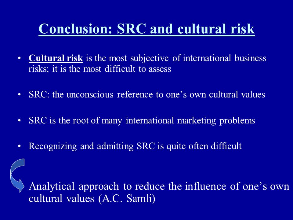 Conclusion: SRC and cultural risk