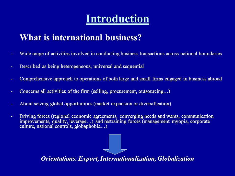 Orientations: Export, Internationalization, Globalization