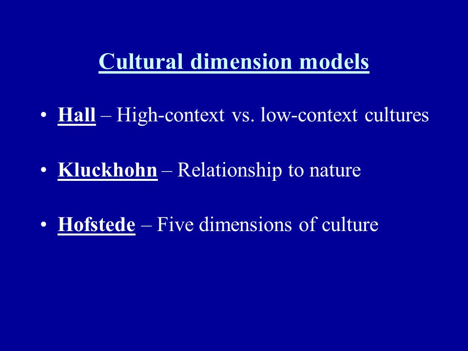 Cultural dimension models