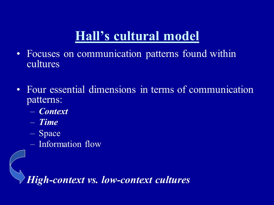 Hall's cultural model Focuses on communication patterns found within cultures. Four essential dimensions in terms of communication patterns: