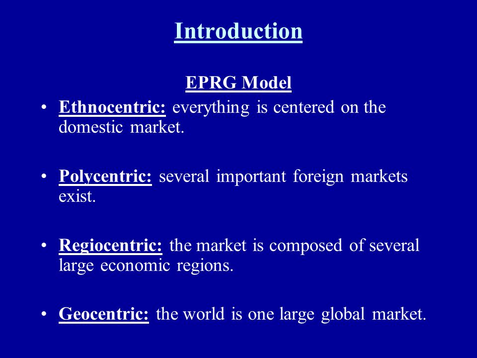 Introduction EPRG Model