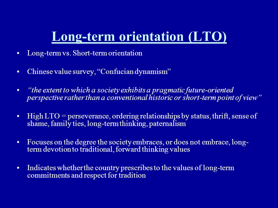Long-term orientation (LTO)
