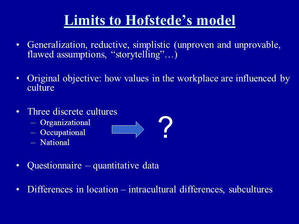 Limits to Hofstede's model