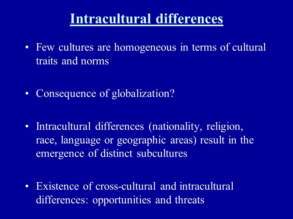 Intracultural differences