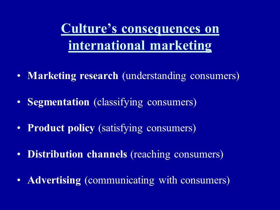 Culture's consequences on international marketing