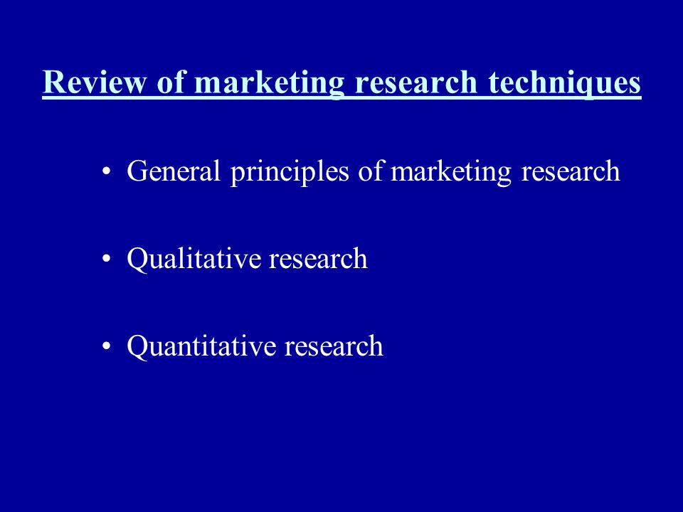 Review of marketing research techniques